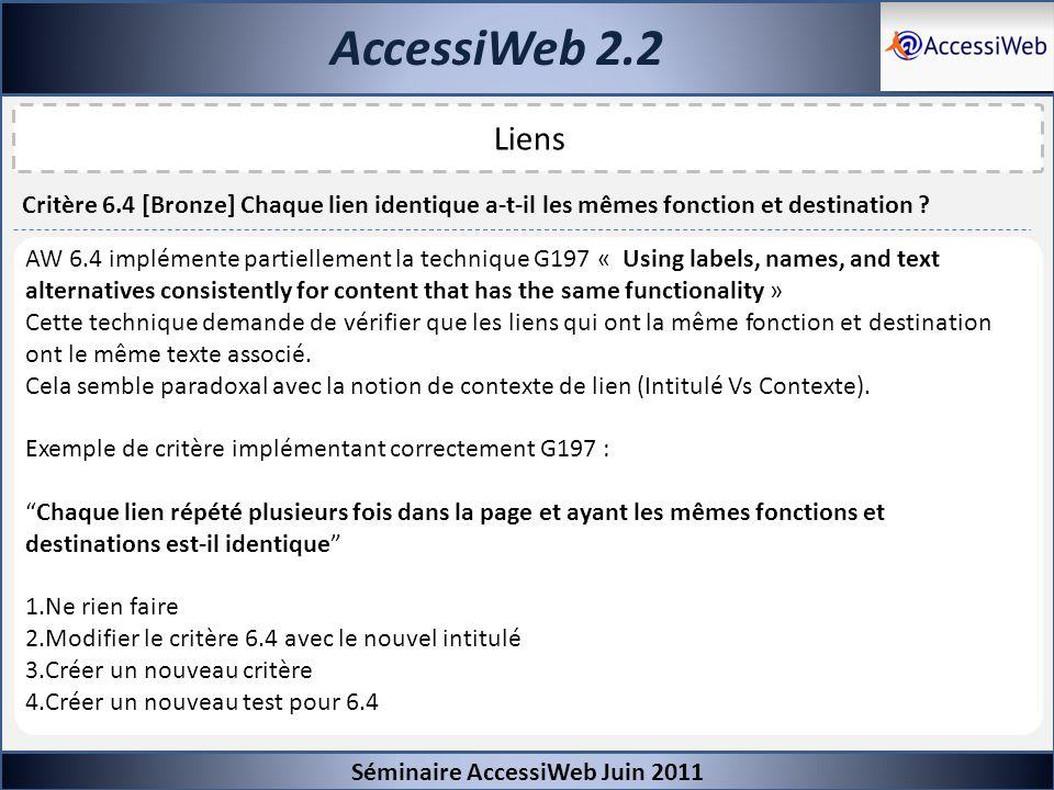 AccessiWeb 2.2 Séminaire AccessiWeb Juin 2011. Liens. Critère 6.4 [Bronze] Chaque lien identique a-t-il les mêmes fonction et destination